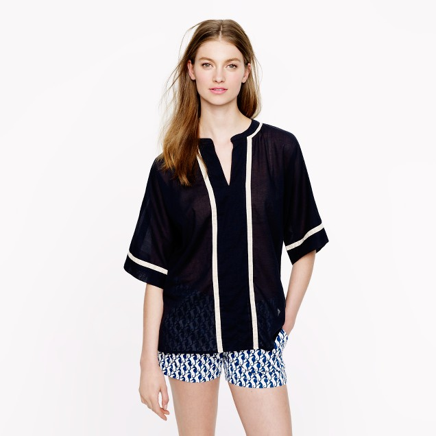 Contrast-trim tunic