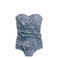 D-cup antique paisley ruched bandeau tank
