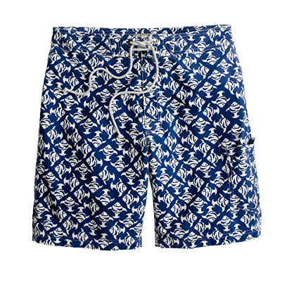 "9"" long board short in aquatic print"