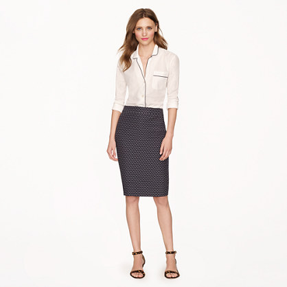 Petite No. 2 pencil skirt in polka-dot jacquard