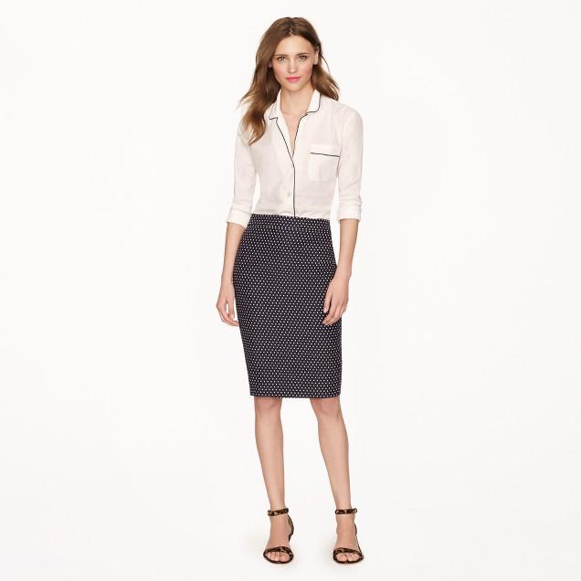 No. 2 pencil skirt in polka-dot jacquard