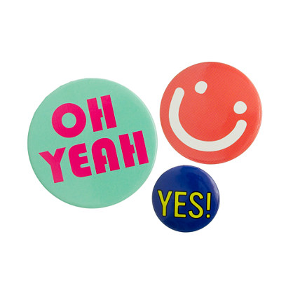 Girls' happy graphic button pins