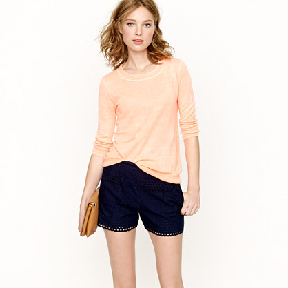 Scalloped eyelet short