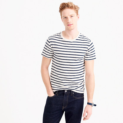 Slub cotton deck-striped T-shirt