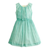 Girls' organdy bow dress in checkerboard print