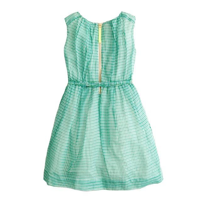 Girls' organdy bow dress in checkerboard print