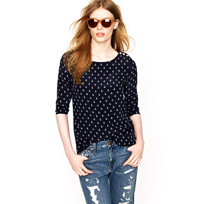 Scoopneck blouse in anchors aweigh