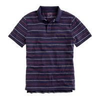 Textured cotton polo in stormy sea stripe