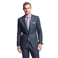 Ludlow suit jacket with double vent in Italian linen-wool