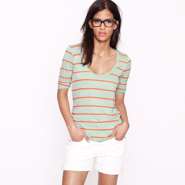 Drapey elbow-sleeve tee in stripe