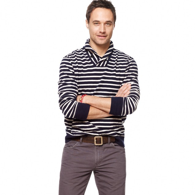 Stripe shawl-collar heavyweight sweatshirt