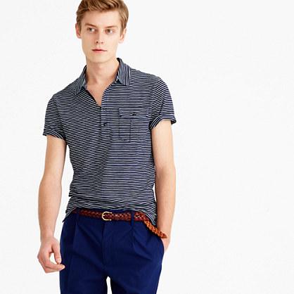 Wallace & Barnes striped indigo polo shirt