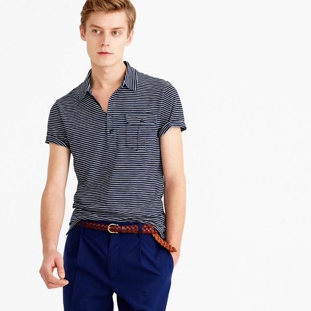 Wallace & Barnes striped indigo polo shirt