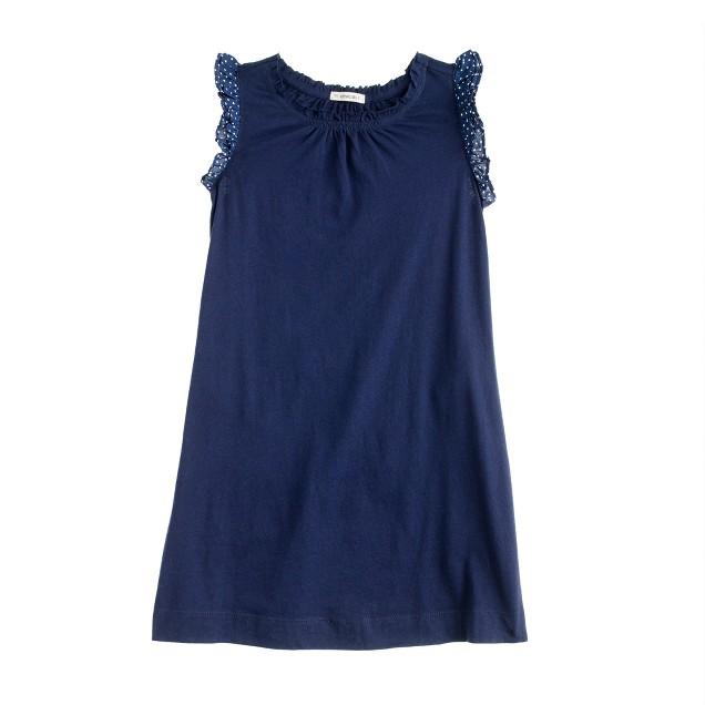 Girls' dot-sleeve dress