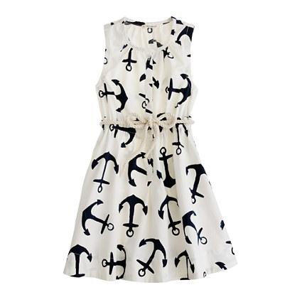 Girls' dizzy anchors sateen dress