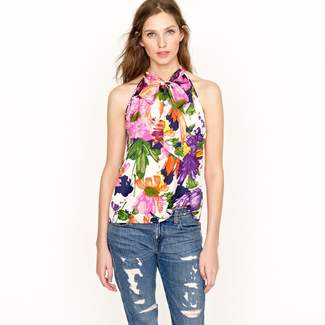Silk bow cami in garden floral