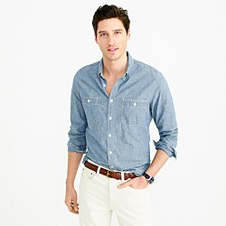 Slim selvedge Japanese chambray utility shirt