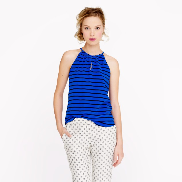 Silk keyhole top in stripe