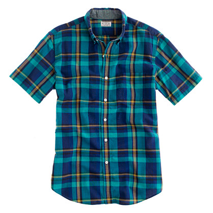indian cotton short sleeve shirt in maguire plaid short. Black Bedroom Furniture Sets. Home Design Ideas