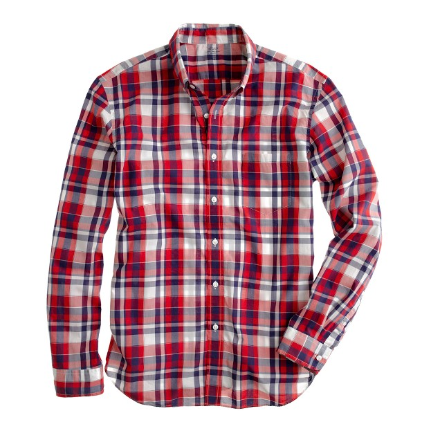Slim Secret Wash lightweight shirt in Bridgeport plaid