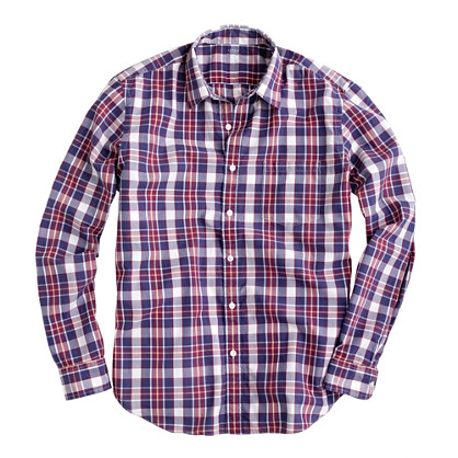 Secret Wash lightweight shirt in lagoon plaid