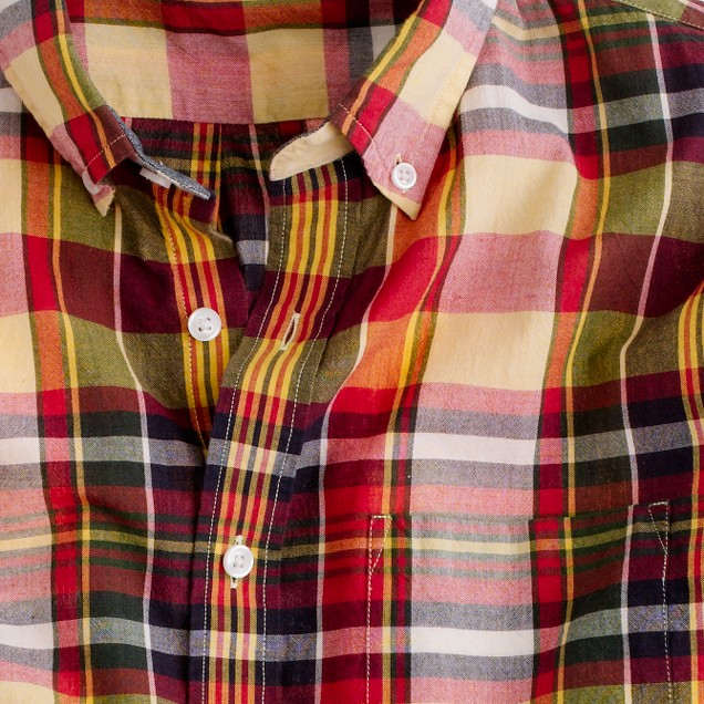 Indian cotton shirt in golden plaid