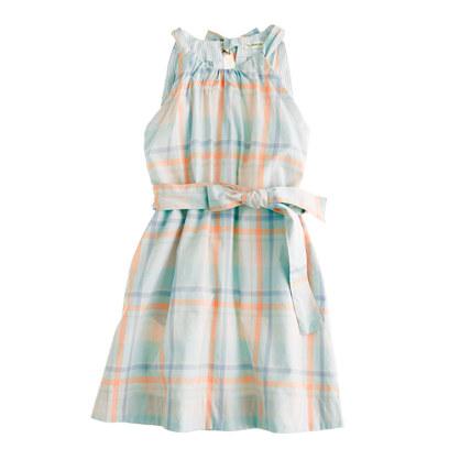 Girls' pastel plaid dress