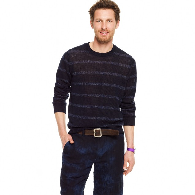 Marled stripe linen sweater