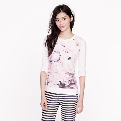 Collection silk panel peony sweatshirt