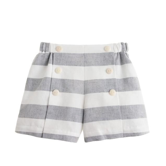 Girls' sailor short in linen stripe