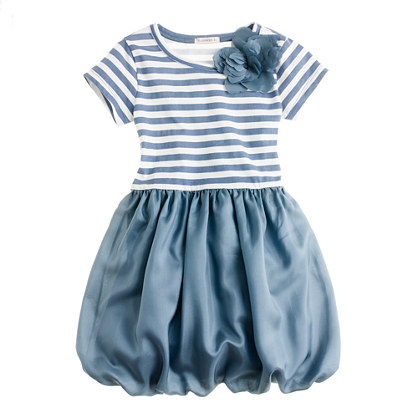 Girls' puff love dress in stripe