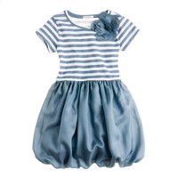 Girls' puff love dress in stripe