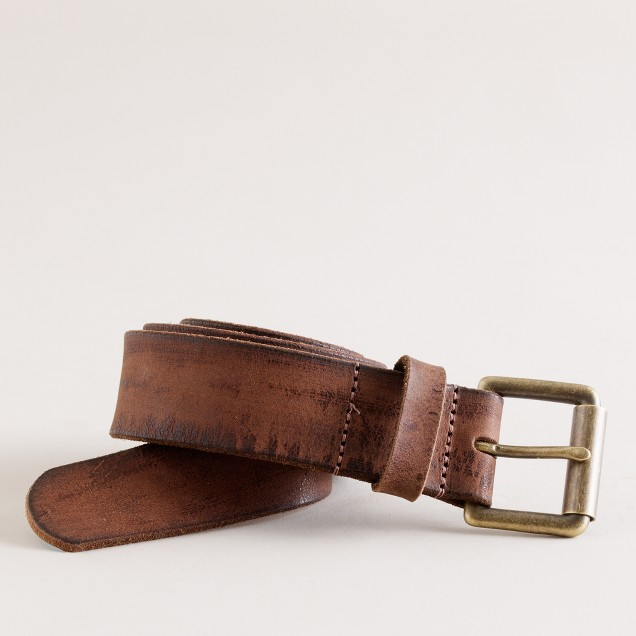 Distressed-leather roller-buckle belt