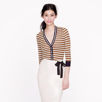 Stripe gauze cardigan