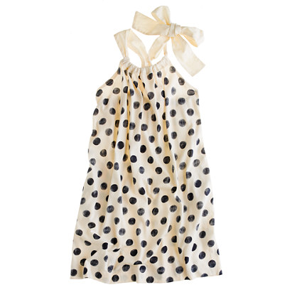 Girls' bow-back dress in polka dot