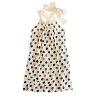 Girls' bow-back dress in polka dot