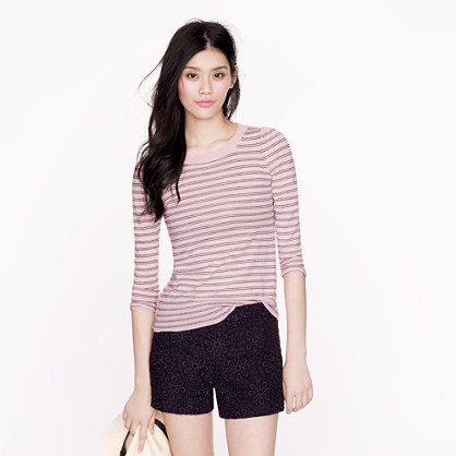 Lightweight merino puff-sleeve sweater in stripe