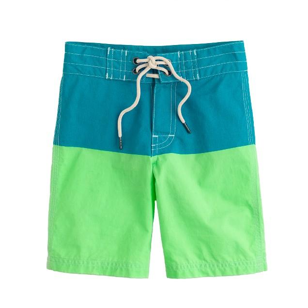 Boys' board shorts in colorblock