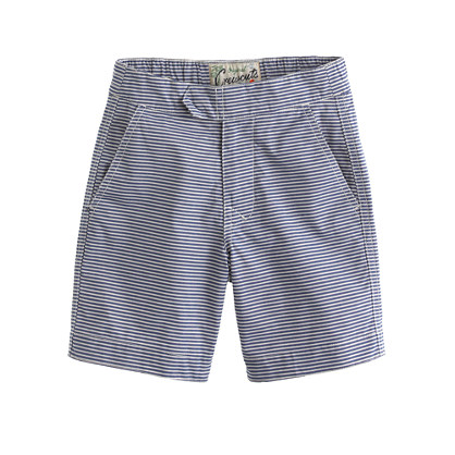 Boys' tab swim short in blue stripe