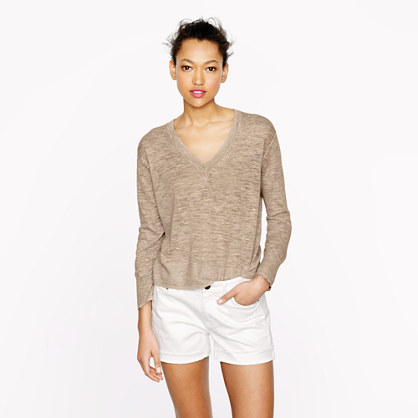 Marled linen V-neck sweater