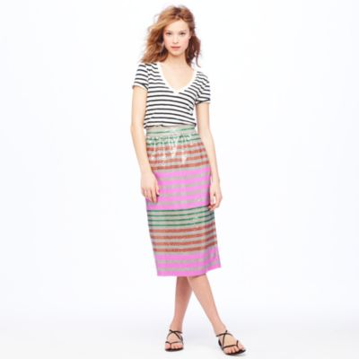 Collection Sequin-stripe midi skirt : Women A-line/Midi | J.Crew