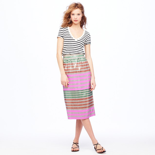 Collection Sequin-stripe midi skirt
