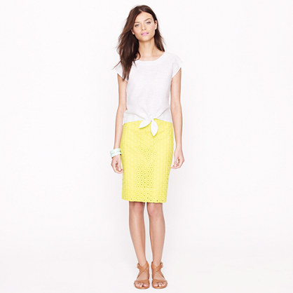 No. 2 pencil skirt in circle eyelet