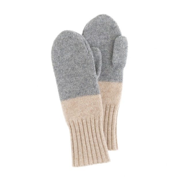 Girls' cashmere colorblock sparkle mittens