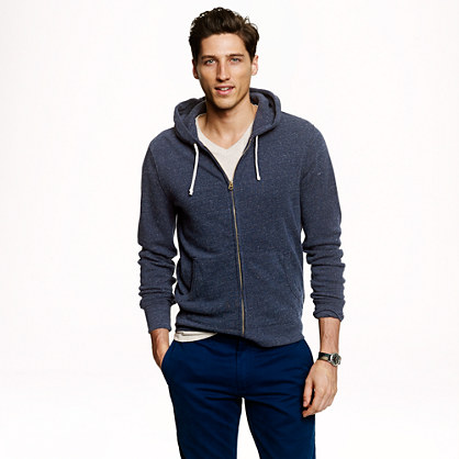 Slim brushed fleece zip hoodie
