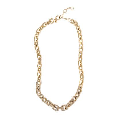 Classic half-pavé necklace