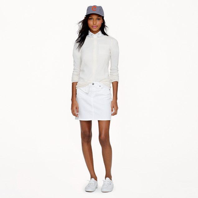 White denim mini