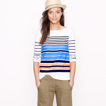 Ribbon-stripe boatneck tee