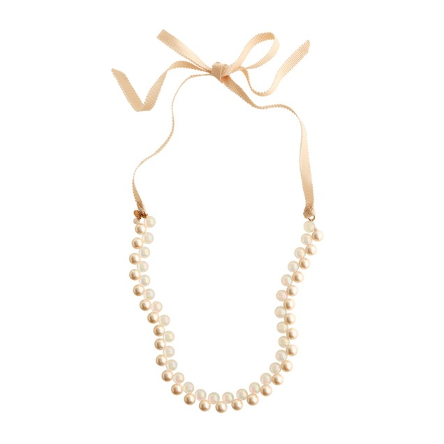 Girls' two-color pearl bauble necklace