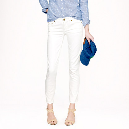 Cropped matchstick jean in white denim